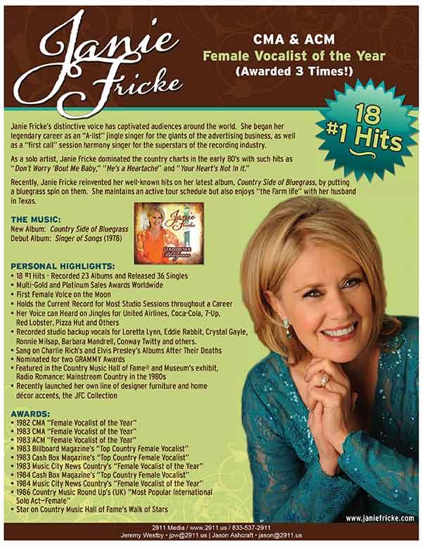 Janie Fricke one sheet