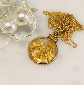 Gold Flake Locket Necklace