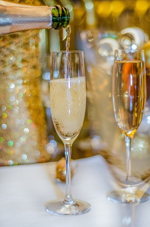 Champagne poured into glasses