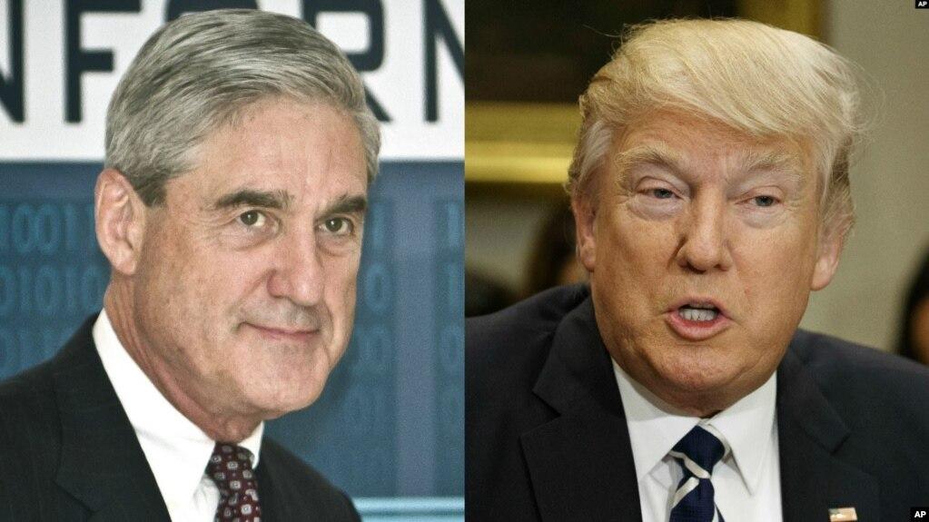 Công tố viên đặc biệt Robert Mueller trong ảnh ghép với ông Donald Trump.