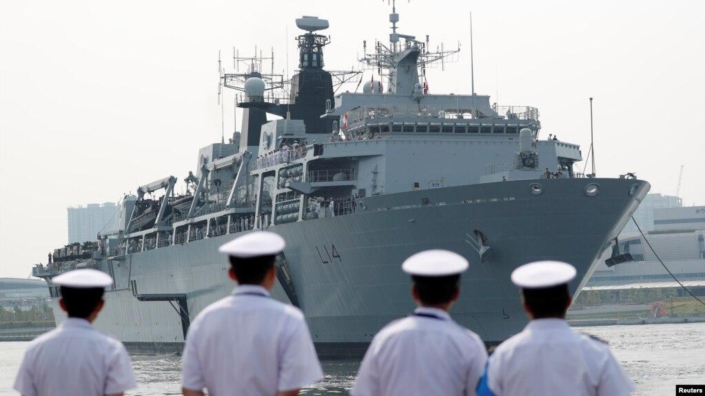 Chiến hạm HMS Albion của Hải quân Hoàng gia Anh tại bến tàu Harumi ở Tokyo, Nhật Bản, ngày 3/8/2018. REUTERS/Toru Hanai