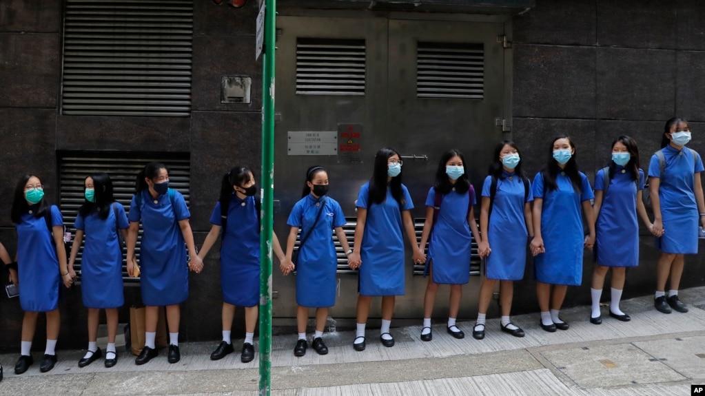 Học sinh biểu tình ở Hong Kong 9/9/2019.