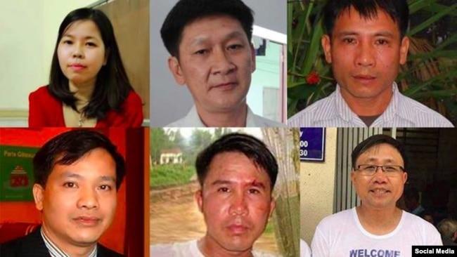 Các nhà tranh đấu Lê Thu Hà, Trương Minh Đức, Nguyễn Trung Tôn, Nguyễn Văn Đài, Phạm Văn Trội, Nguyễn Bắc Truyển.