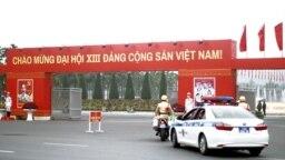 Cổng vào Trung tâm Hội nghị Quốc gia, nơi diễn ra Đại hội Đảng XIII từ ngày 25/1 đến 2/2/2021. Photo Tien phong.