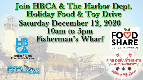 Join HBCA Sat Dec 12, 2020 10 AM-5 PM at Fisherman's Wharf Holiday Food & Toy Drive