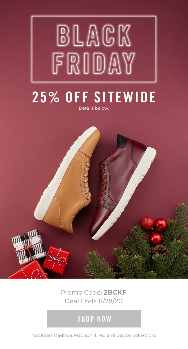 """Black Friday starts now! Take 25% off sitewide with code """"2BCKF"""" during checkout. Display images to learn more."""