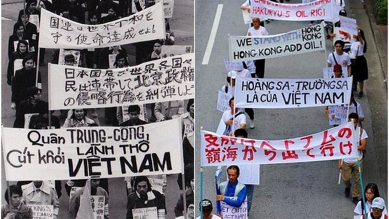 Cuộc biểu tình của sinh viên Việt Nam của 45 năm trước (trái) và nay vào 8-9-2019 tại Tokyo, Nhật Bản