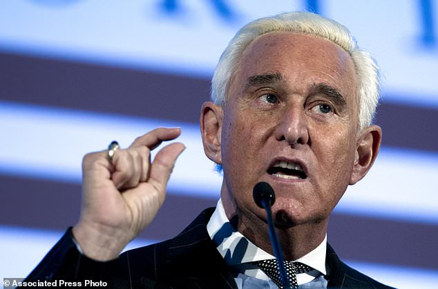 Roger Stone speaks at the American Priority Conference in Washington Thursday