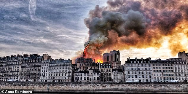 The moment Notre Dame's spire began to collapse as distraught Parisians watching the catastrophe let out a collective cry of disbelief at seeing it fall on Monday evening