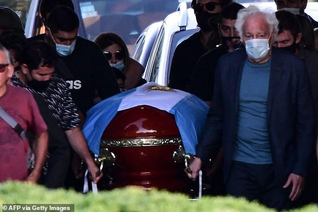 FedeHe died in his sleep at noon while resting at his home in Tigre, Buenos Aires, Argentina, on Wednesday. Pictured, Maradona's coffin