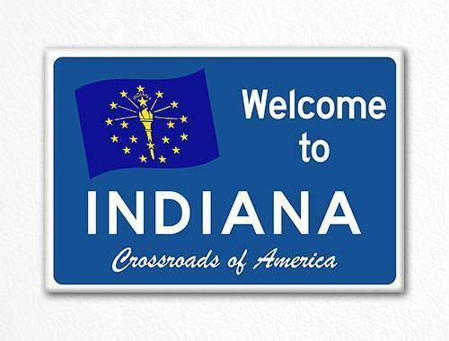 Welcome to Indiana Sign Replica Souvenir Fridge Magnet