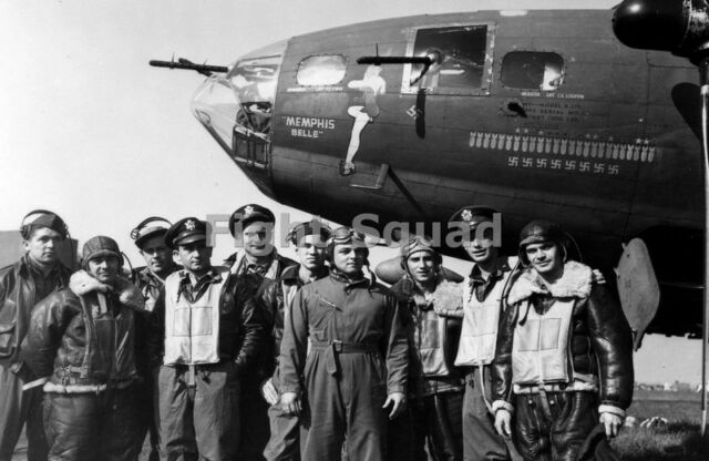 WW2 Picture Photo 1943 Crew of B-17F Flying Fortress bomber Memphis Belle 1791