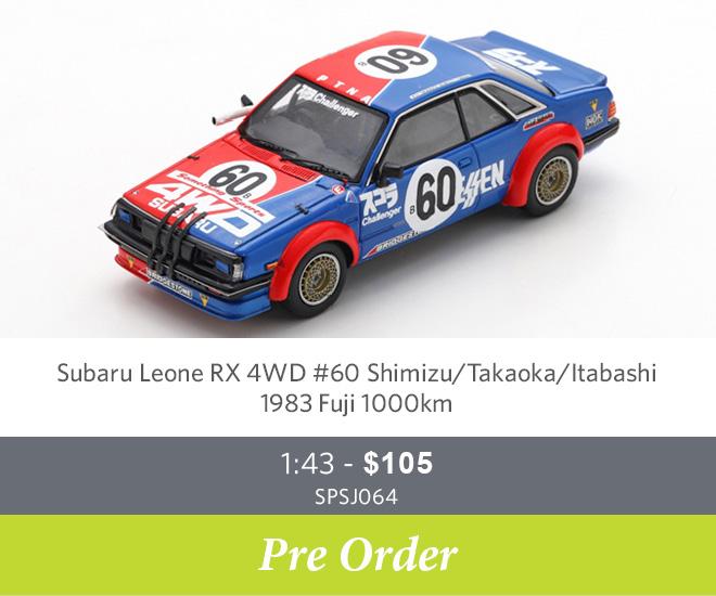 Subaru Leone RX 4WD #60 Shimizu / Takaoka / Itabashi – 1983 Fuji 1000km Ltd Ed. of 500 1:43 - $105 SPSJ064 - Pre Order Now