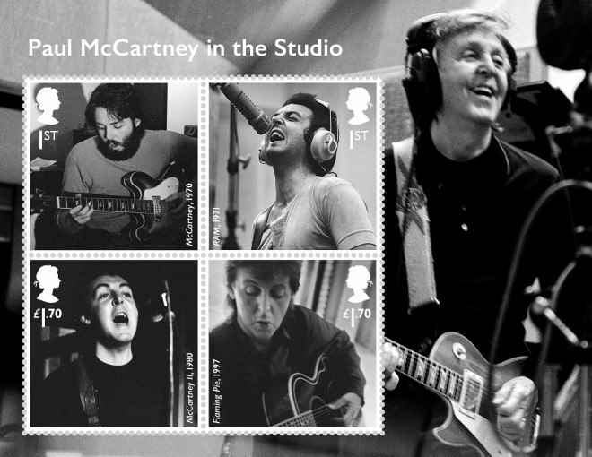 """Photo of the Paul McCartney four """"in the studio"""" stamp collection"""