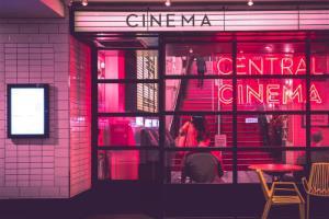 Outside of a cinema entrance