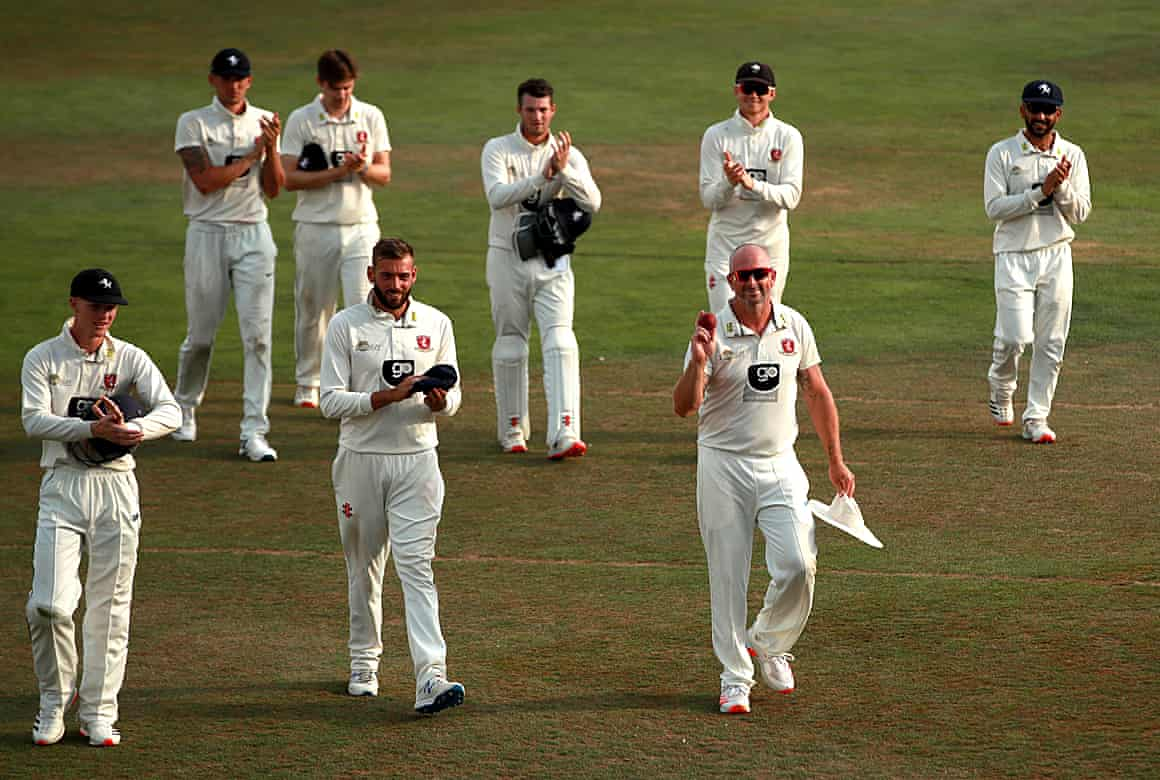 Kent's Darren Stevens celebrates with teammates after his five-wicket haul.