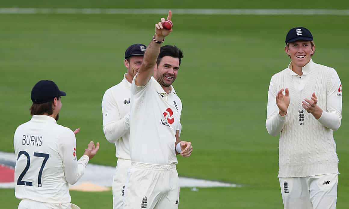 Jimmy Anderson celebrates taking 600 Test wickets for England