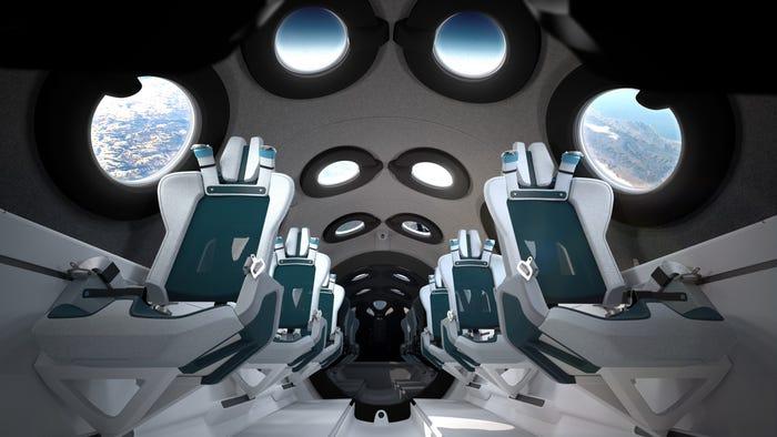 The cabin of a Virgin Galactic spacecraft