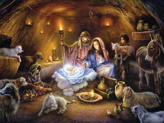 Chúa Jesus sinh ra trong hang đá.
