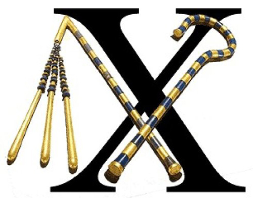 The X character is derived primarily from the image of two crossbones and a hook crossed and that is a symbol of death and rebirth.