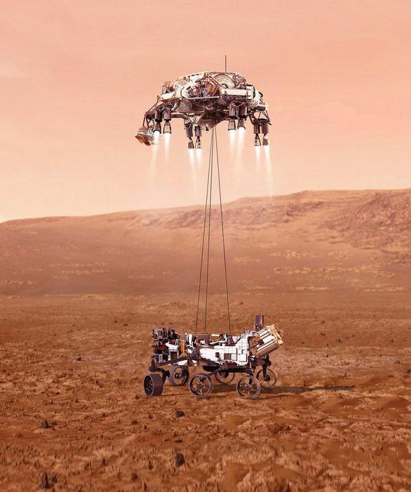 Ảnh minh họa việc hạ cánh của tàu Perseverance trên sao Hỏa