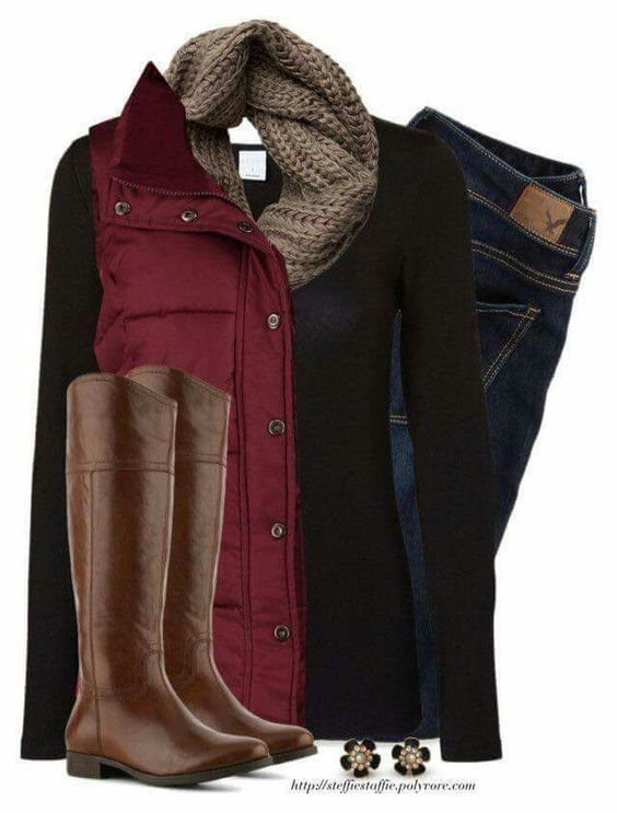 Love the layering and the warm Fall colors.  Good on jeans.  But maybe the top/vest/scarf/jewelry?