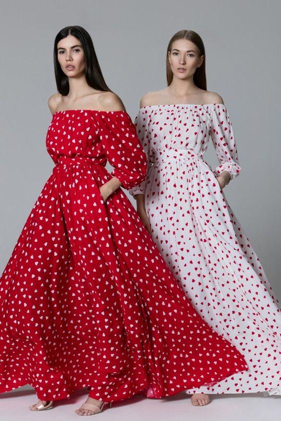 Платье «Маруся» макси красное принт сердце, Платье «Маруся» макси белое принт сердце, Цена— 24990 рублей