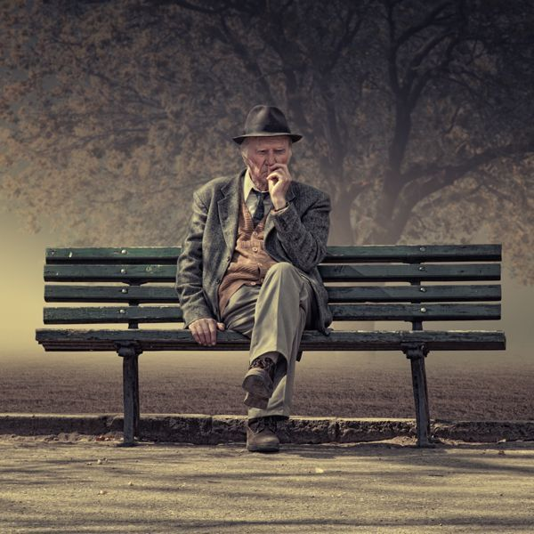 Image result for picture of an old man bent over sitting on a bench