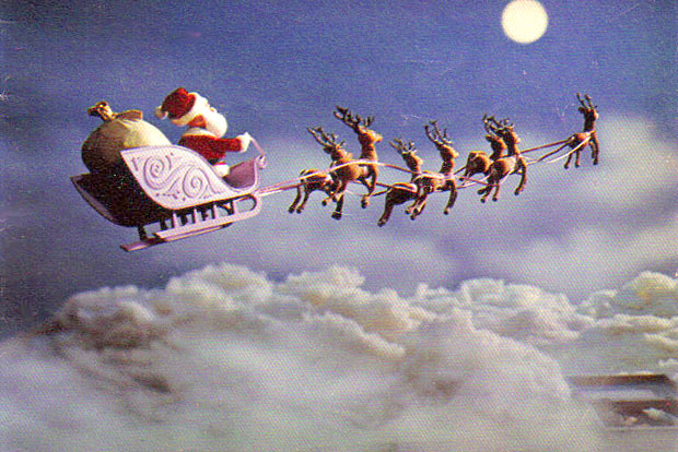 Image result for rudolph the red nosed reindeer leading the sleigh