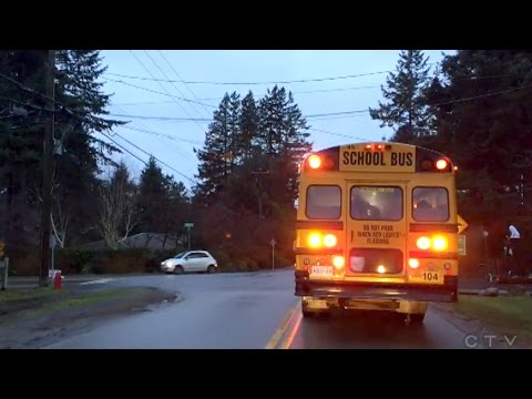 Image result for picture of an old yellow school bus going down the road at night