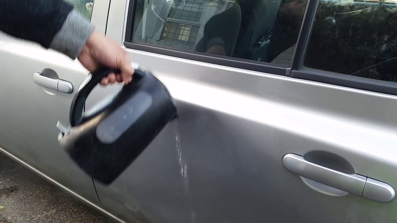 Image result for fixing a dent in a car with a plunger