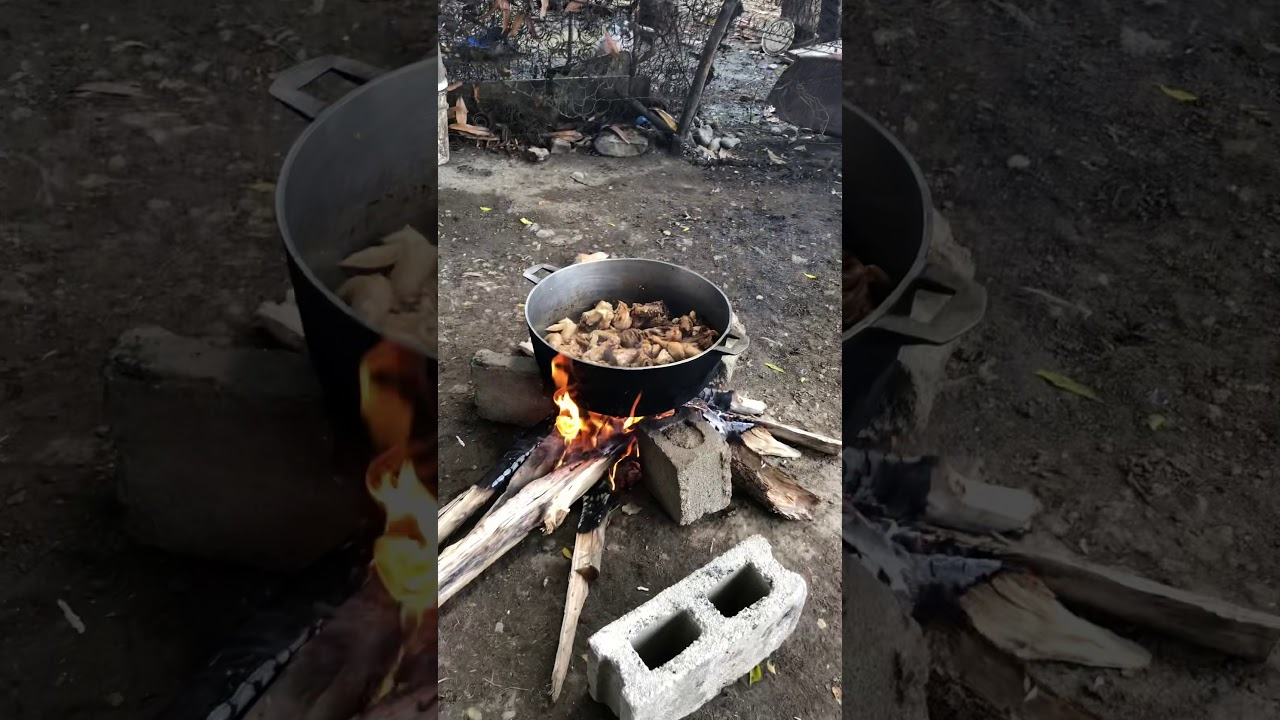 Cooking lunch with fire