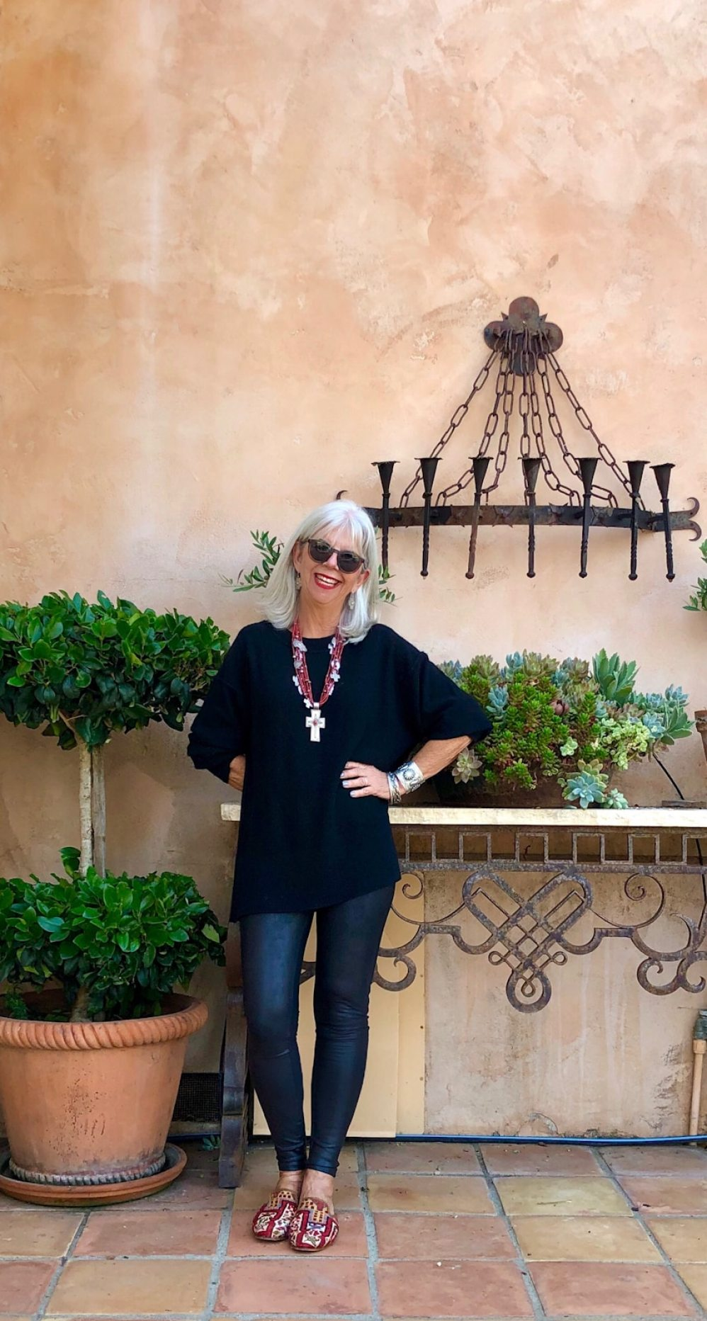 cindy hattersley in free people cashmere, spanx faux leather leggings and artemis mules