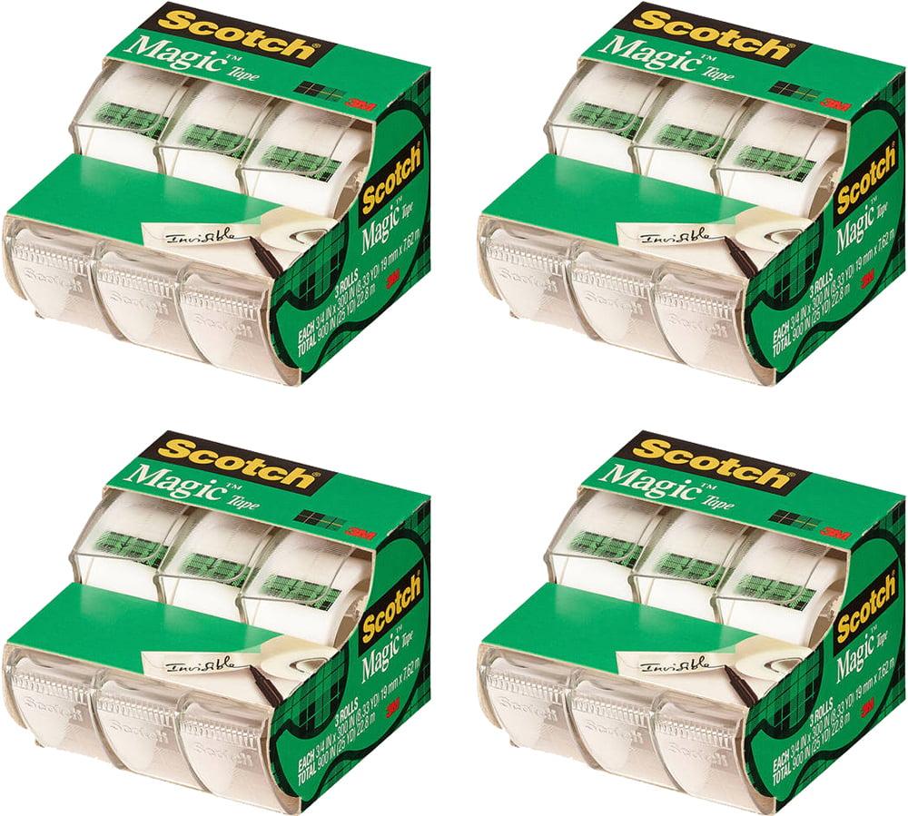 (4 Pack) Scotch Magic Tape Dispenser 3 Pack, 3/4in. X 300in. per Dispenser, Clear