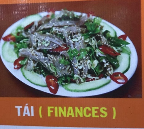 Món tái bị dịch sang tiếng Anh thành finances - nghĩa tiếng Việt là tài chính.