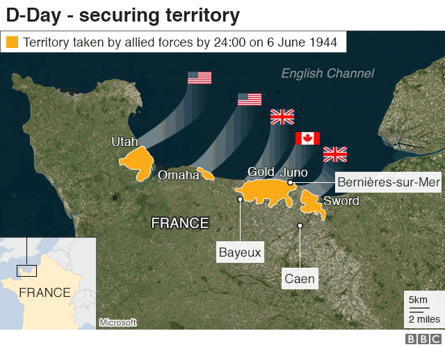 D-Day map: Securing territory