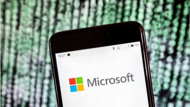 Microsoft logo seen displayed on a smartphone