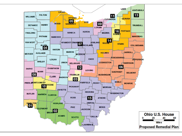 Proposed new Ohio congressional district map submitted to federal court.