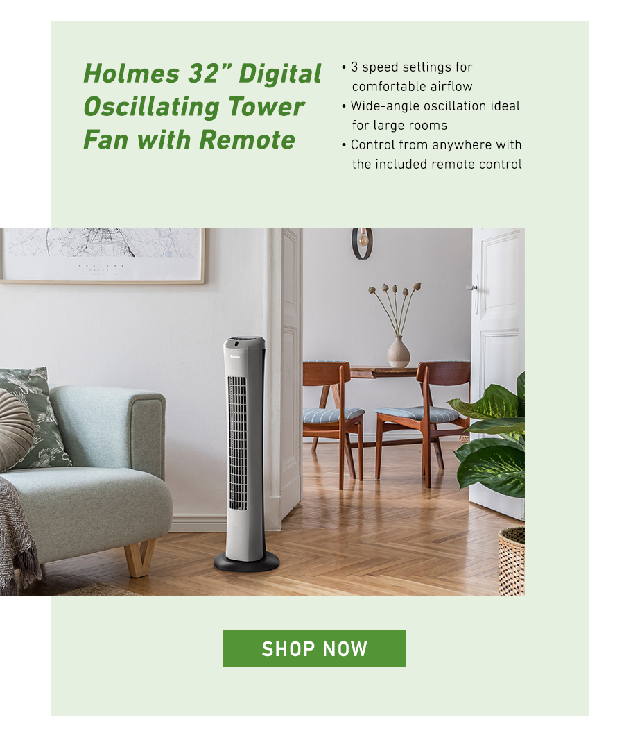 Holmes 32 inch Digital Oscillating Tower Fan with Remote. Shop Now