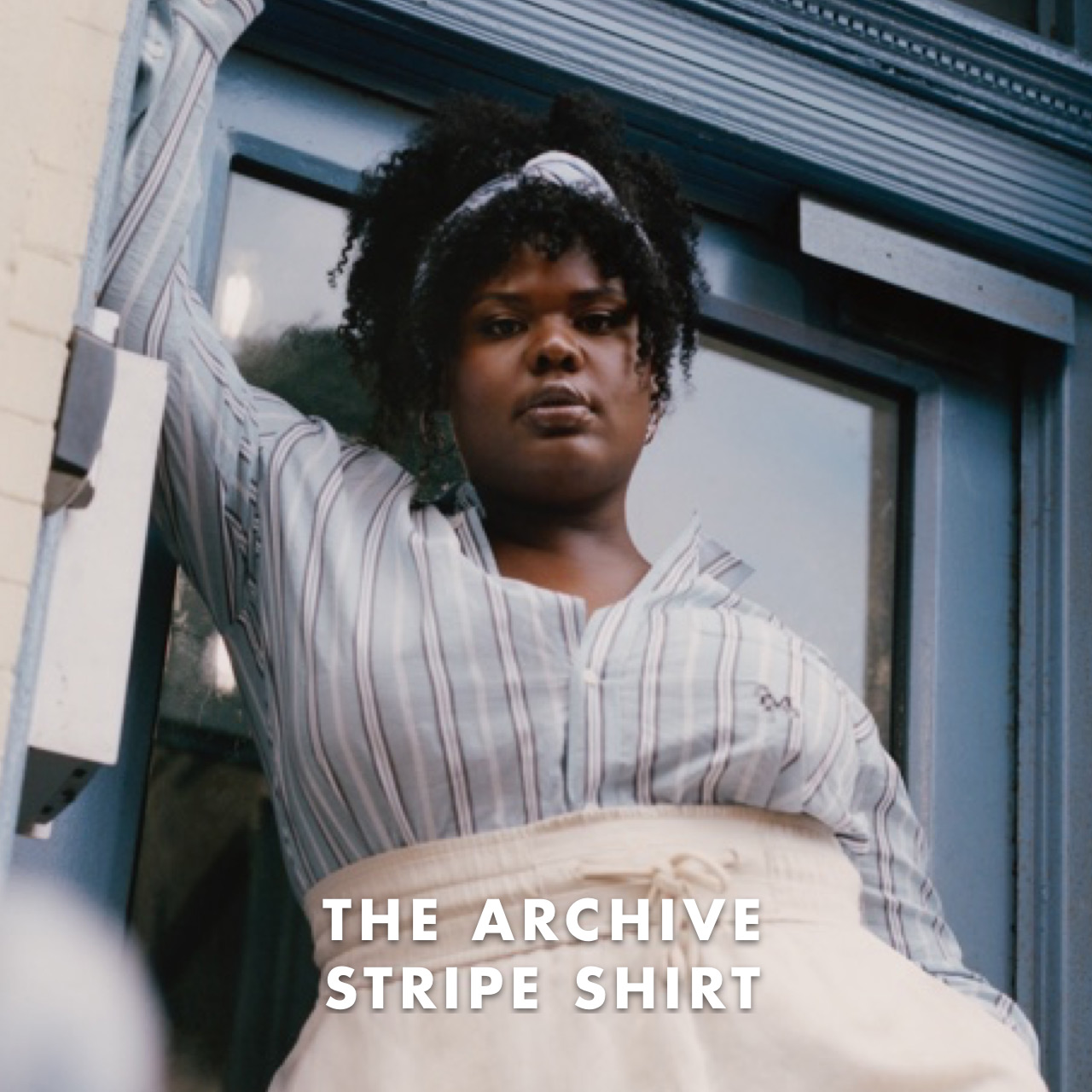 THE ARCHIVE STRIPE SHIRT: A fluid fabric with adjustable sleeves for a fluid style expression.