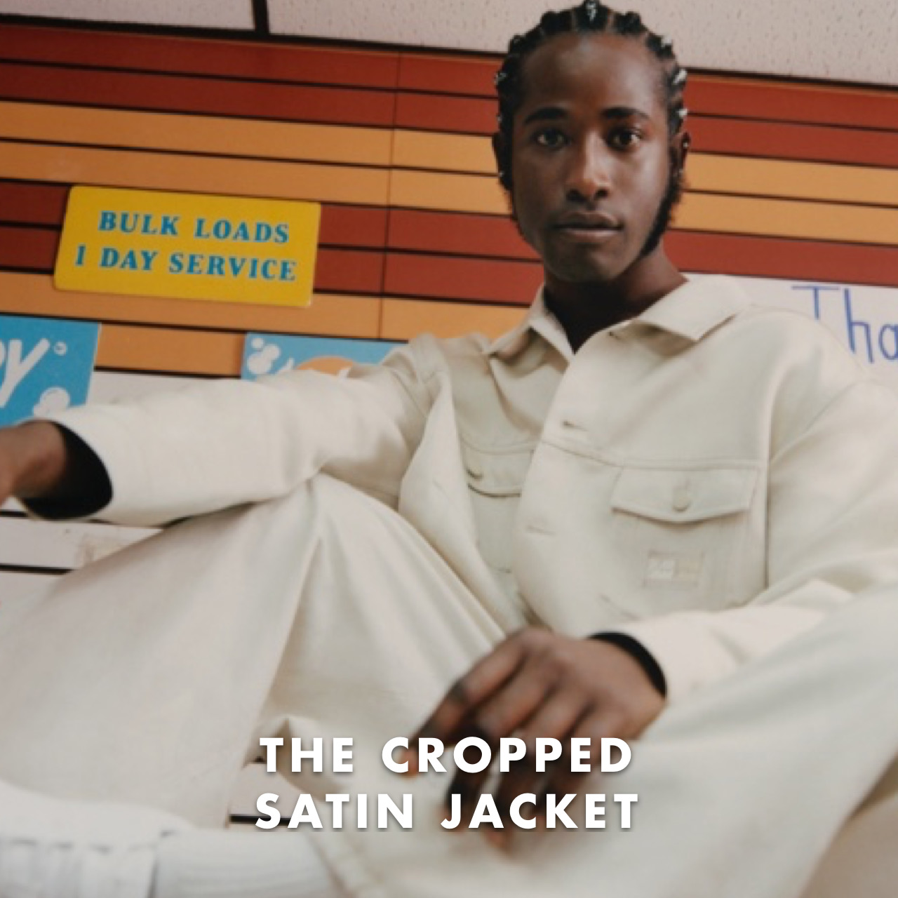 THE CROPPED SATIN JACKET: The dropped shoulder construction is designed for multiple body types.