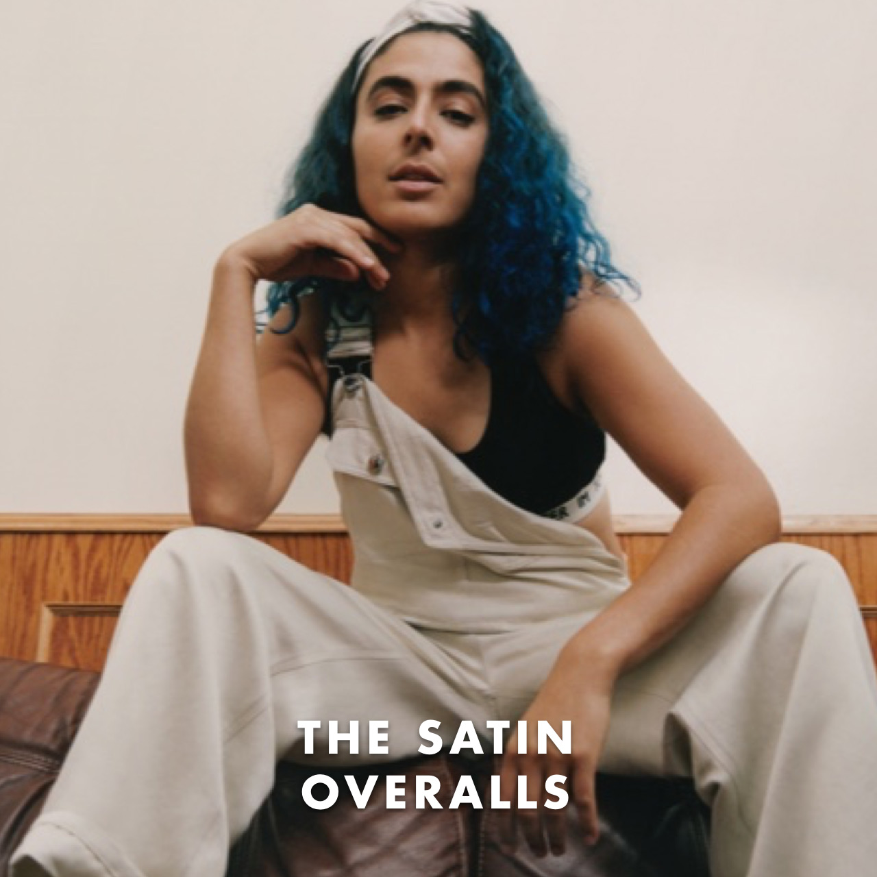 THE SATIN OVERALLS: Adaptable, which can be worn as pants using the integrated belt.