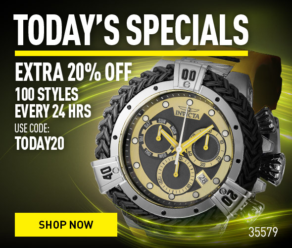 Today's specials. Extra 20% off 100 styles every 24 hrs. Use code: Today20
