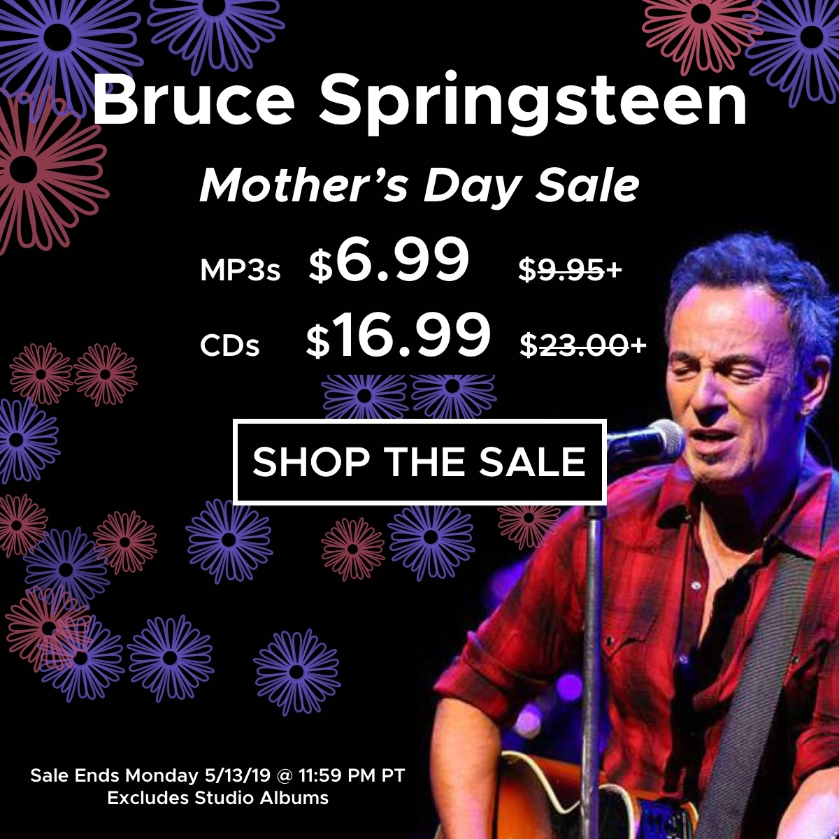 Huge sale on live Bruce Springsteen shows, CDs only $16.99 and MP3s only $6.99. Limited time deal, sale ends Monday.
