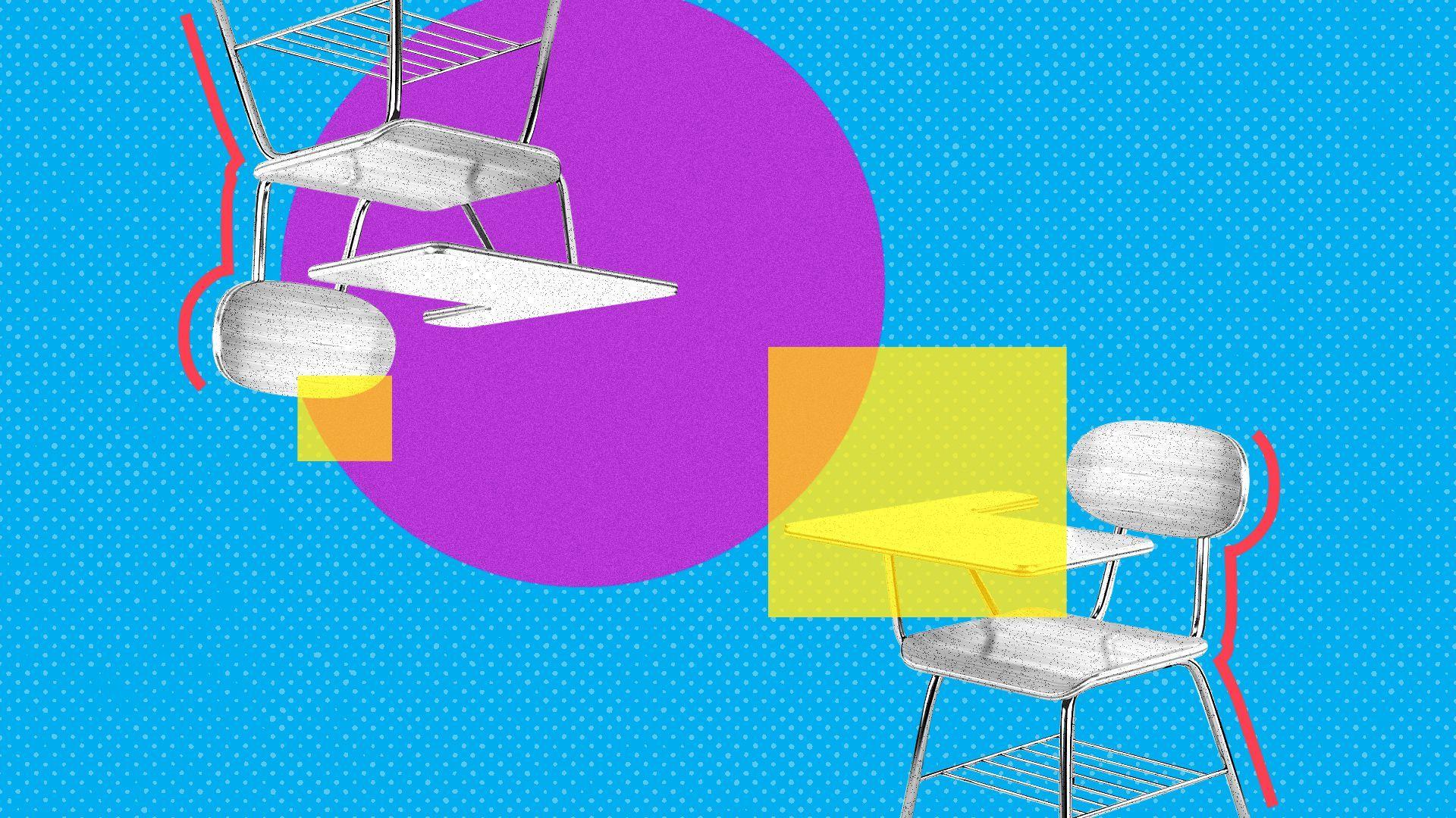 两张桌子的形状都是圆形的。