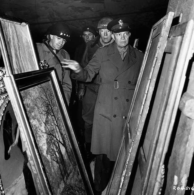 General Eisenhower, Patton Examine Stolen Artwork in a Nazi Mine (1945)