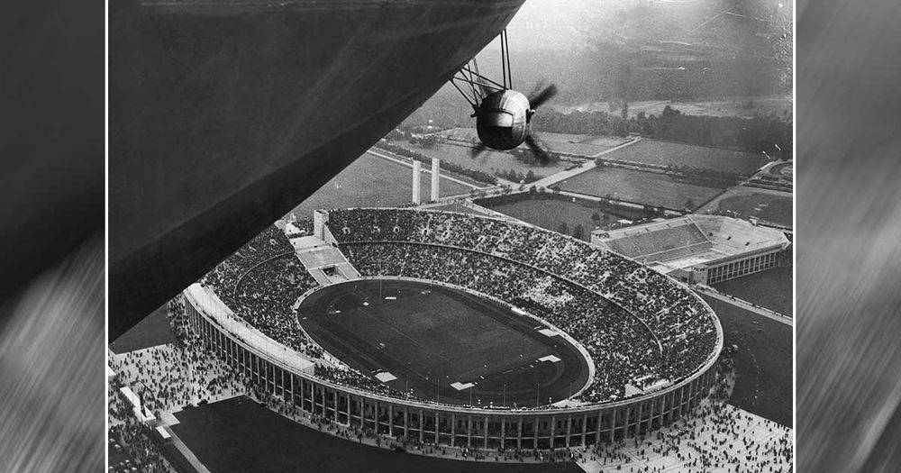 The Hindenburg Flies Over the 1936 Olympic Games