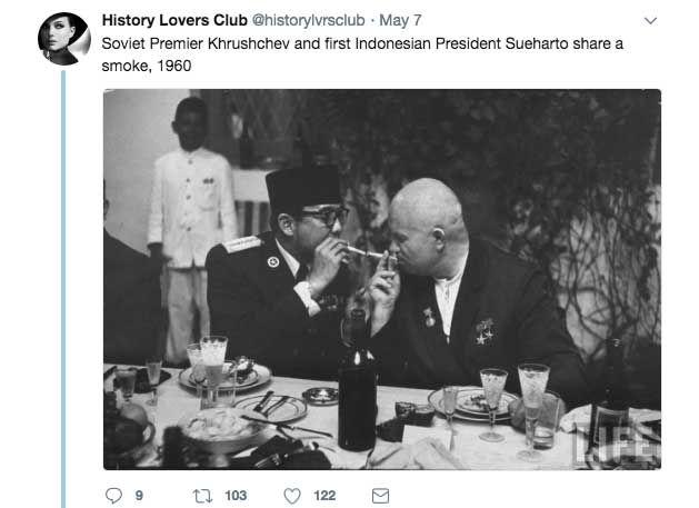 Nikita Khrushchev and Indonesian President Sukarno Share a Cigarette (1960)
