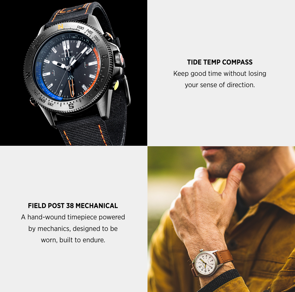TIDE TEMP COMPASS | Keep good time without losing your sense of direction | FIELD POST 38 MECHANICAL | A hand wound timepiece powered by mechanics, designed to be worn, built to endure.