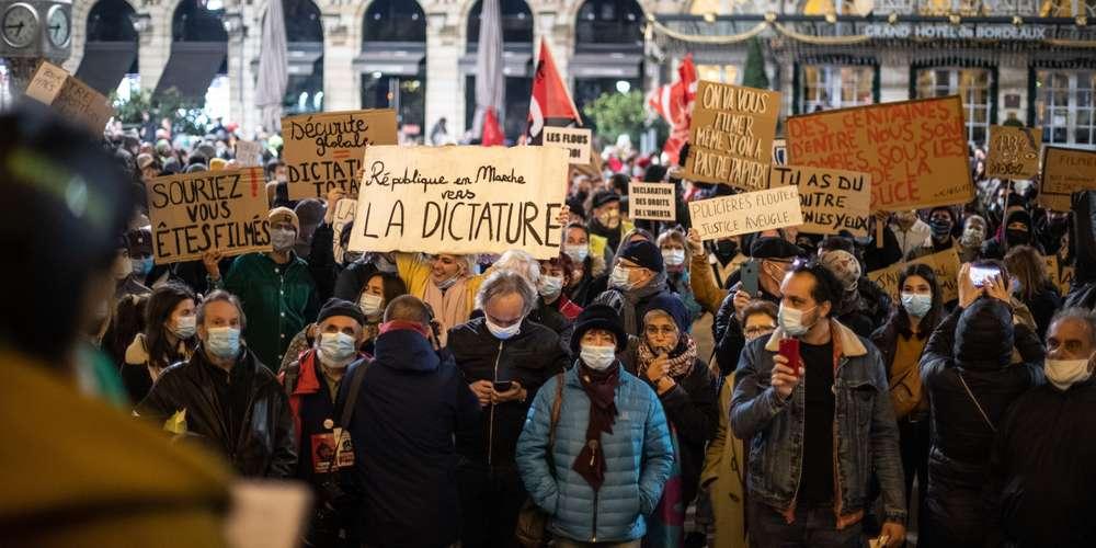 Bordeaux: 1500personnes ce mardi soir contre la loi sécurité globale, des heurts en fin de soirée